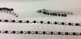 Women Set of Necklace and Earrings Clear and Black Rhinestones, Silver T... - $8.90