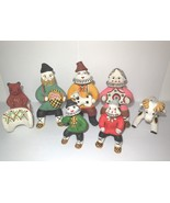 Russian Clay Figurine Set of 7 KARGOPOL Toys Multi Color Hand Made Men B... - $99.00