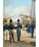 US NAVY 1840 Uniforms Commander Lieutenant Marines - COLOR Litho Print - $18.90