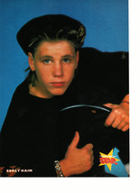 Corey Haim Danny Ponce teen magazine pinup clipping black hat in a chair Bop