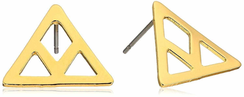 Set of ECRU metal Gold Plated Cutout Chevron Earrings NWT