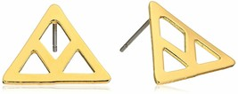 Set of ECRU metal Gold Plated Cutout Chevron Earrings NWT image 1