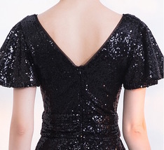 BLACK Sleeved High Waist Maxi Sequin Dress Floor Length Sequin Wedding Dresses image 9