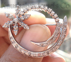 Victorian 1.12ct Rose Cut Diamond Decent Cute Wedding Brooch Vintage Jew... - $383.88