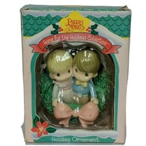 Precious Moments Home For The Holidays Christmas Ornament 1995 Boy Girl Wreath - $13.26