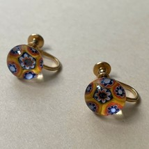 Vintage Millefiori Screw Back Earrings Glass Domed Delicate Multicolor Y... - $19.75