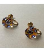 Vintage Millefiori Screw Back Earrings Glass Domed Delicate Multicolor Y... - $19.75