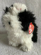 """Ty Beanie Baby Poofie The Black & White Fluffy Dog 2001 Red Bow 6"""" Mwmt - $10.88"""