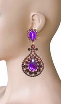 "4"" Long, Plum & Violet Purple Rhinestones Clip On earrings Pageant Drag Queen - $19.00"