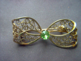 Vintage Gold Filled Filigree Bow Brooch with Green Stone - $15.00