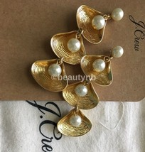 Nwt Authentic J Crew Shell-and-pearl Drop Earrings Burnished Gold - $32.99