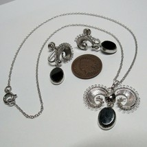 Vintage White Gold on Sterling Silver Choker Necklace Non Pierced Earrings Set - $49.49