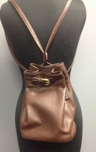 COACH Dark Brown Leather Drawstring Closure Backpack Style Bucket Bag B4649 - $59.39