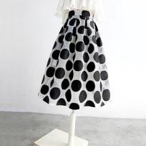 Women White Black Strip Pleated Midi Skirt A-line High Waist Pleated Plaid Skirt image 9