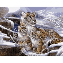 Paint By Number Kit Winter Snow Leopard Cubs Animal DIY Picture 40x50cm ... - $11.52