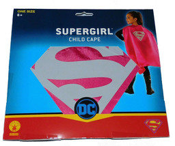 NEW Girls Kids DC Comics Dress Up Costume Halloween Pink Silver Supergirl Cape