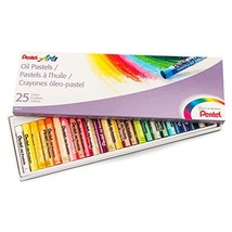Pentel Arts Oil Pastel Set, 5/16 x 2-7/16 Inch, Assorted Colors, Set of 25 - $6.33