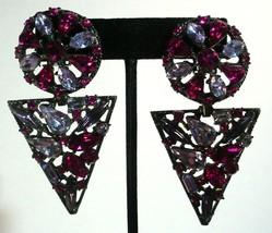 Vintage Thelma Deutsch Pink & Purple 3 Inch Dangle Clip On Earrings WOW - $123.75