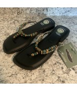 EARTH SHOE AZTEC WOMENS Gelron 2000 BLACK LEATHER SANDALS NEW 9.5 - $29.65