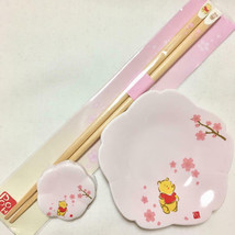 Disney Store Winnie The POOH Cherry Blossom Bowl&Chopstick Rest&Small Pl... - $44.55