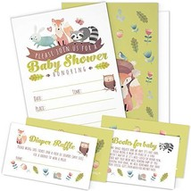 A Set of 25 Woodland Animals Baby Shower Invitations, Diaper Raffle Tickets and