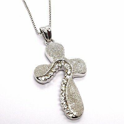 925 Silber Halskette, Kette Veneta, Anhänger Kreuz Seidenmatt, Zirkonia