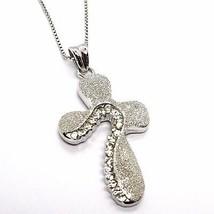 925 Silber Halskette, Kette Veneta, Anhänger Kreuz Seidenmatt, Zirkonia - $80.99