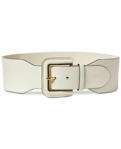 Lauren Ralph Lauren Wide Covered-Buckle Stretch Belt (Vanilla, M)