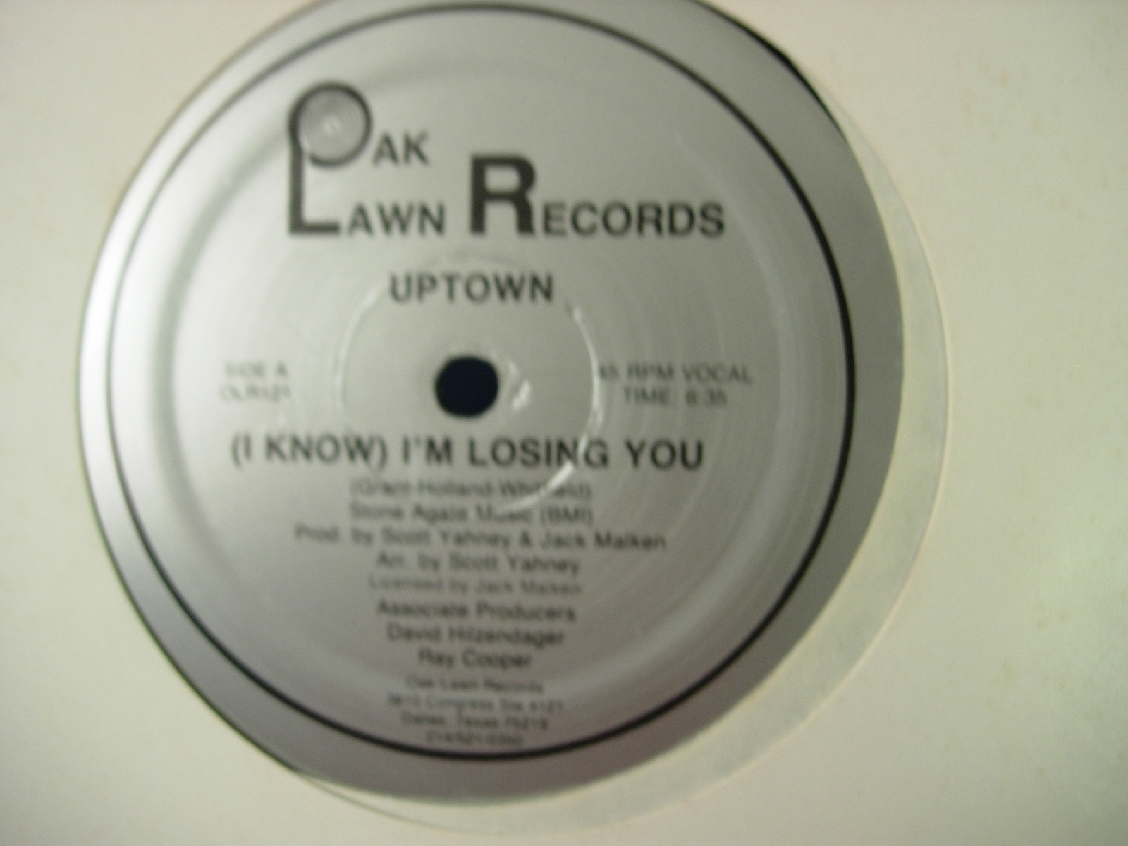 "Uptown - (I Know) I'm Losing You - Oak Lawn Records 121 - 12"" Single - 45RPM"