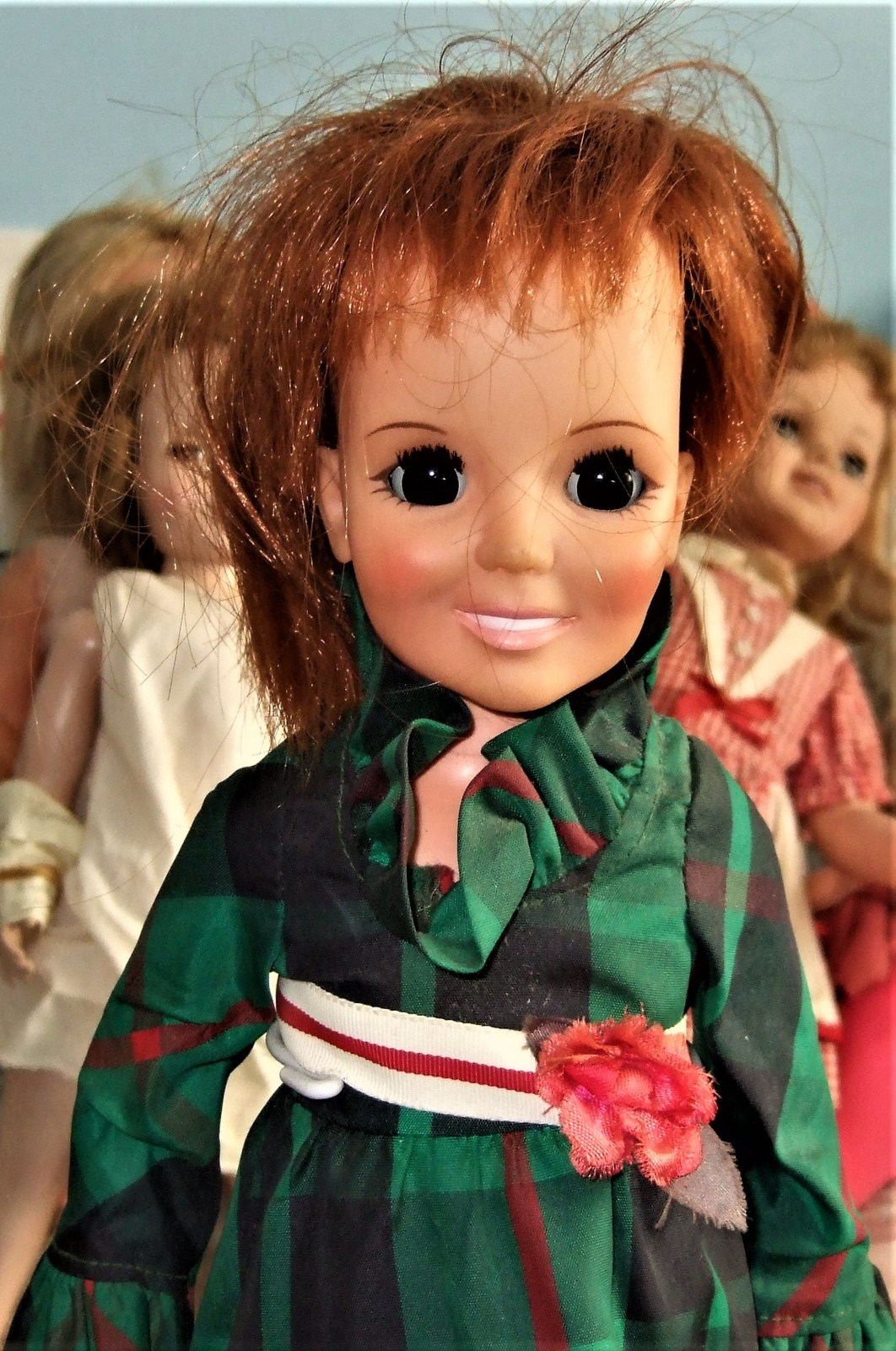 """Crissy Doll - (Ideal Toys 1970) 18"""" Doll Red Hair Growing Hair Plaid Dress"""