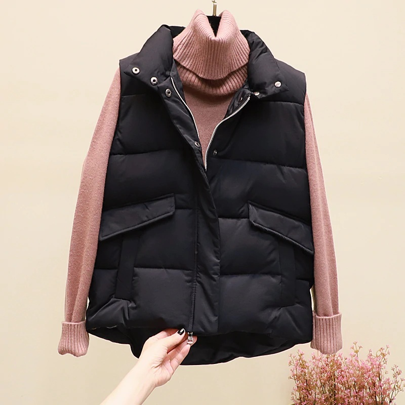 New black warm padded winter vest with pockets stand collar sleeveless waistcoat image 2