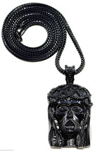 Jesus Necklace New Crowned Iced Out Pendant With 36 Inch Franco Style Chain - $26.95