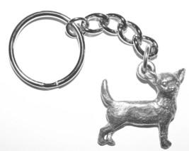 Chihuahua Dog Keychain Keyring Harris Pewter Made USA Key Chain Ring sho... - $9.98