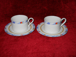 Fitz and Floyd Regatta set of 2 cups and saucers - $8.86