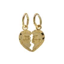 Best Friends Split Heart Charm Pendant 14K Yellow Gold - $38.61