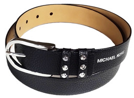 Michael Kors Women's Belt Black Pebbled Leather Silver-Tone Studded Buck... - $49.50