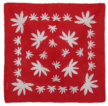 """Lot of 6 Red With White Weed Pot Leaves Marijuana 100% Cotton 22""""x22"""" Ba... - $14.88"""