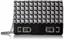 Nine West $49 NWT Gleam Team Clutch Wallet on Chain Black White Crossbod... - $24.74