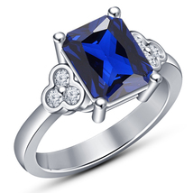 1.10Ct Emerald-Cut Blue Sapphire Solitaire Engagement Ring 10K White Gol... - £58.03 GBP