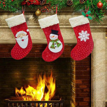 3Pcs Christmas Stockings Socks Santa Claus Candy Gift Bag Xmas Tree Deco... - $5.99