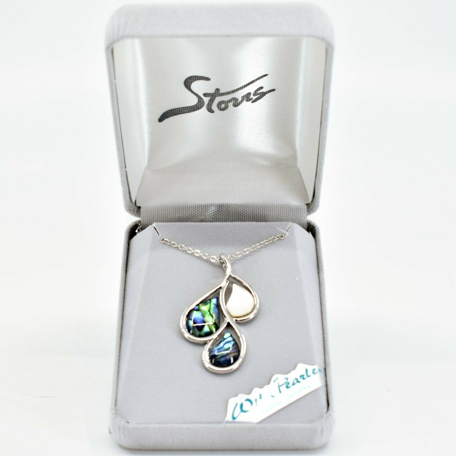 A.T. Storrs Wild Pearle Abalone Shell November Rain Drop w/ Silver Tone Necklace