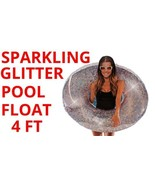 Sparkling Glitter Pool Float Round Heavy Duty Easy Valve Inflate Party 4 Ft - $19.79