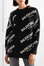100% AUTHENTIC JACQUERED KNIT BALENCIAGA PARIS BLACK LOGO SWEATER SZ 40 image 11
