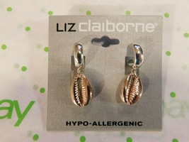 Liz Claiborne Women's Cowrie Sea Shell Hoop Drop Earrings Two Tone New - $17.81