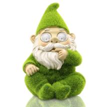 Garden Outdoor Gnome Statues Decoration Solar Light Flocking Dwarf Figurine - $56.99
