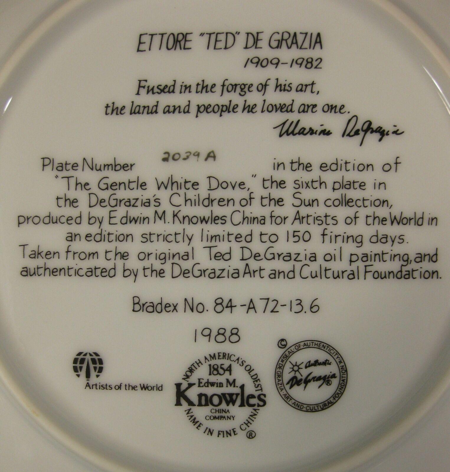 The Gentle White Dove Collector Plate Children Of The Sun Ettore Ted DeGrazia