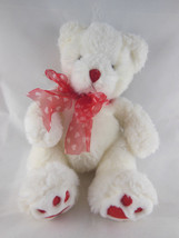"Russ Berrie White Teddy Bear plush 10"" Heartley w Red Hearts on feet and... - $7.95"