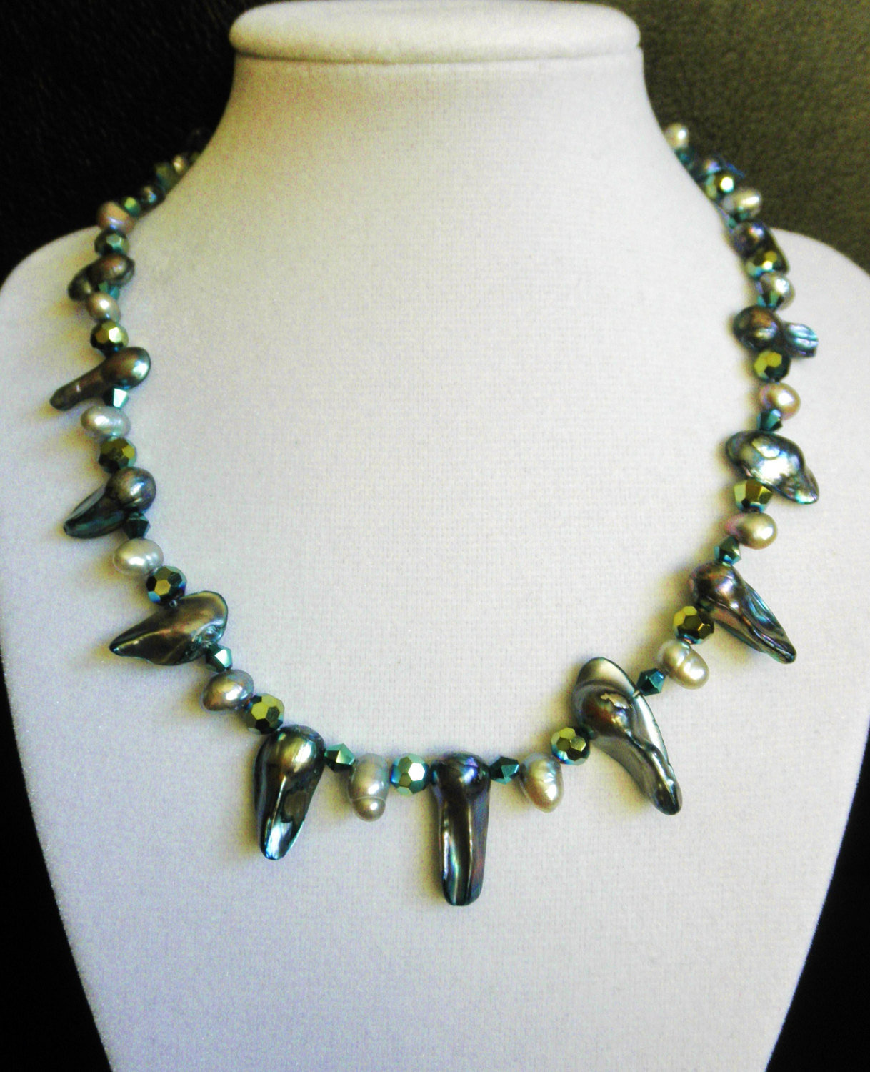 "Primary image for 16 1/2"" genuine abalone, freshwater pearl, and swarovski crystal bead necklace"