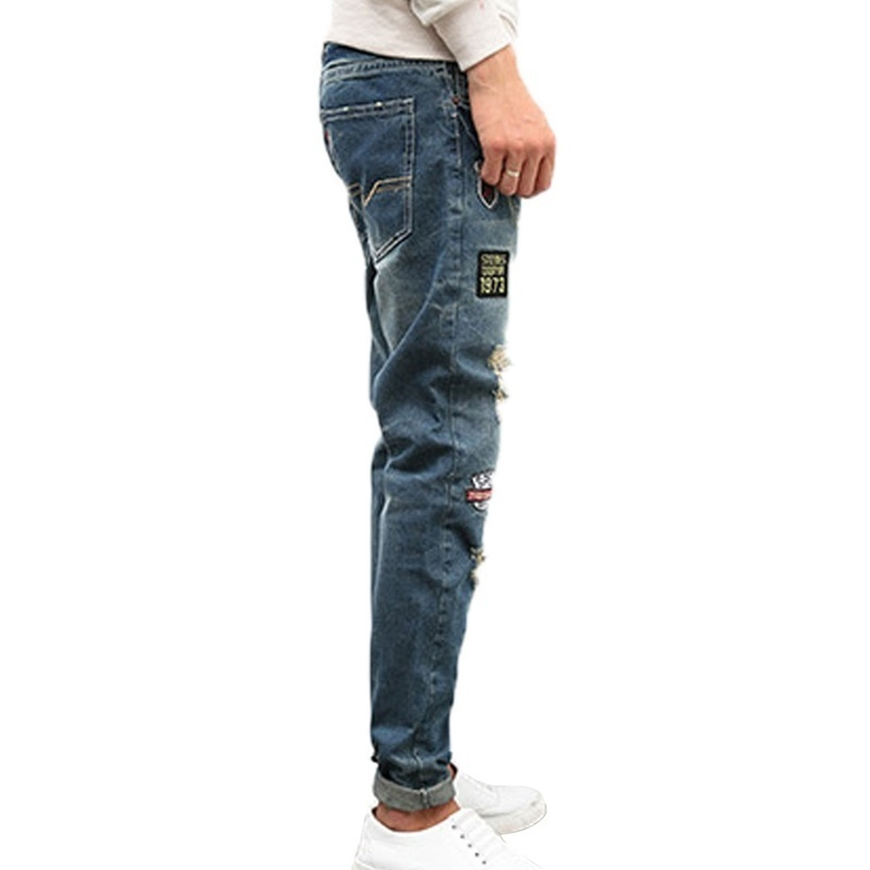 WB Men's Small Foot pants Ripped Jeans Casual Slim Embroidery Jeans