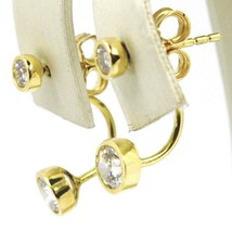 18K YELLOW GOLD PENDANT SOLITAIRE EARRINGS ALTERNATE DOUBLE ZIRCONIA, ITALY MADE image 2